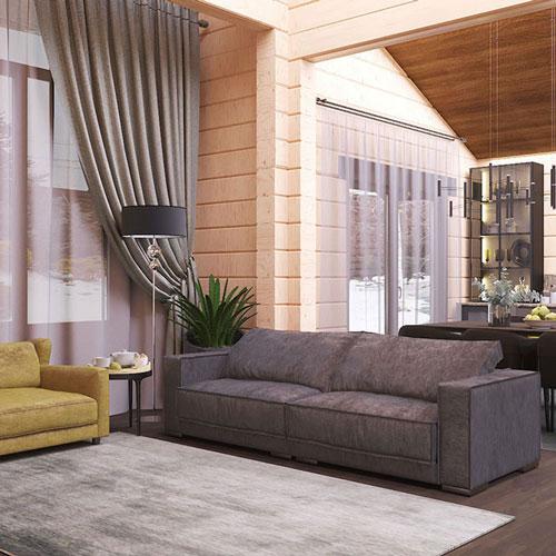 Интерьер в современном стиле, дом из клееного бруса